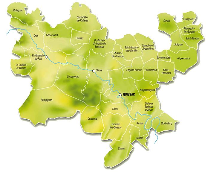 Carte du Piémont Cévenol